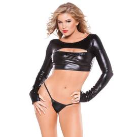 (wd) kitten wet look zipper to