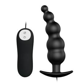 pretty love vibrating bead butt plug black